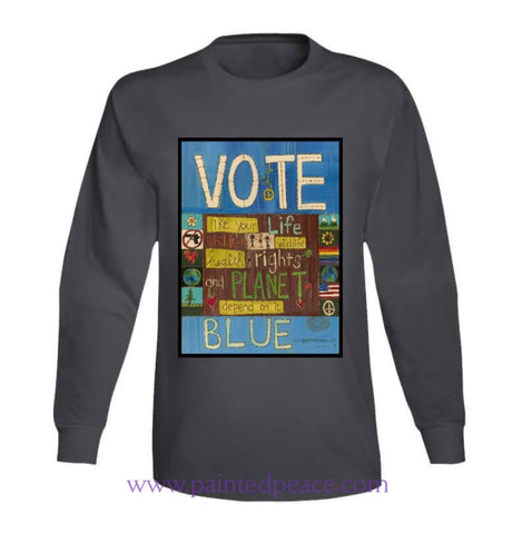 Vote Blue Heartful Long Sleeve Peace-Shirt / Charcoal Grey Small T-Shirt