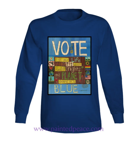 Vote Blue Heartful Long Sleeve Peace-Shirt / Royal Blue Small T-Shirt