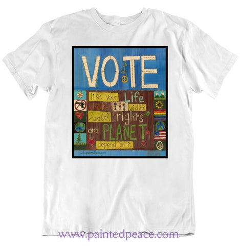 Vote Heartfelt Classic Peace-Shirt / White Small T-Shirt
