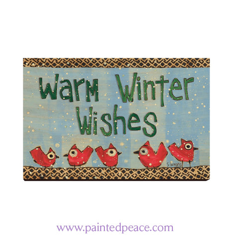 Warm Winter Wishes Wooden Post Card