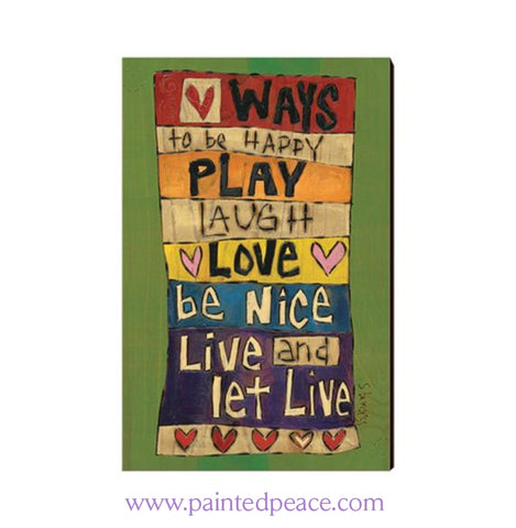 Ways To Be Happy Wooden Post Card Mini Art