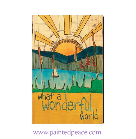 What A Wonderful World Wooden Post Card Mini Art