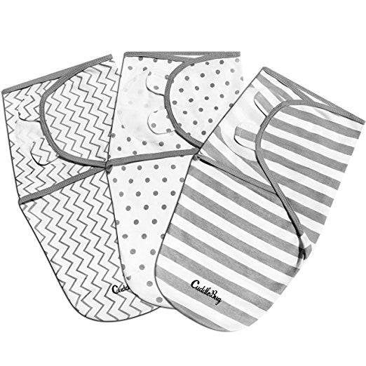 3 Pack CuddleBug Baby Swaddles - Adjustable 0-3 Month (Small - Medium)