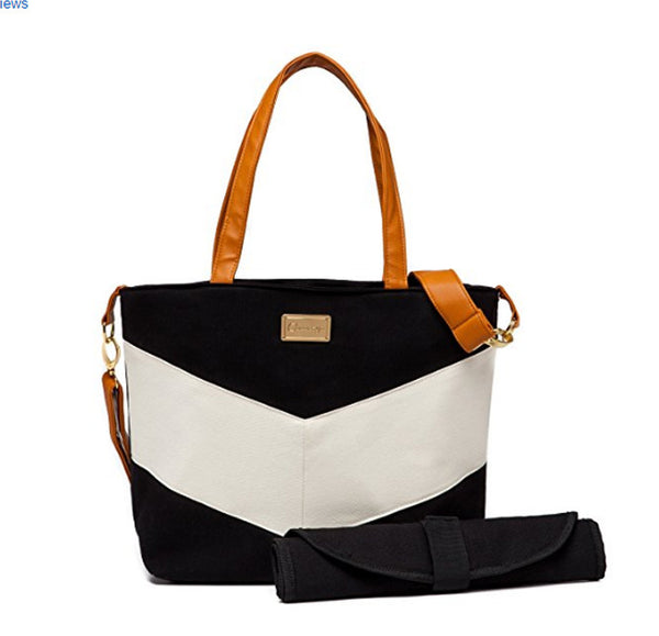 Chevron Tote Diaper Bag - Ivory and Black