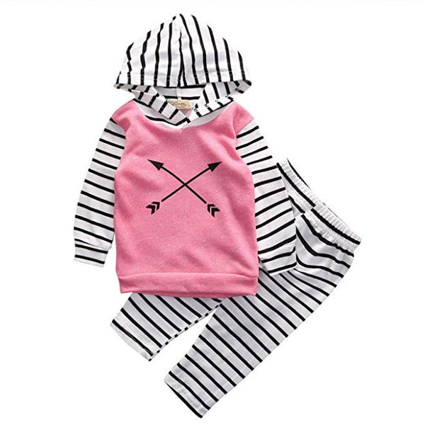 Pink & Black Arrow Hoodie & Pants Set