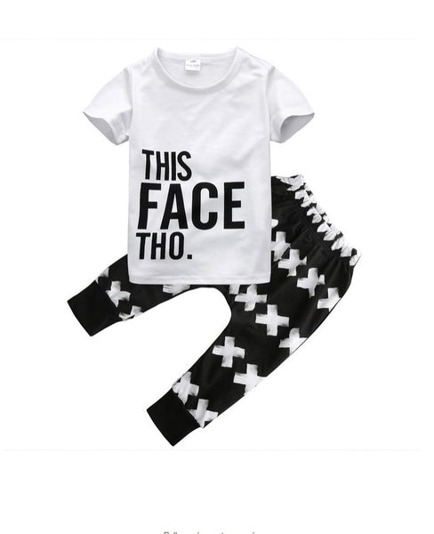 Baby Boy Boutique Style Long Sleeve T-Shirt & Pants Set - This Face Tho -
