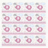 Gavepapir, Baby Shower 0.75x1.5m  - Umbrellaphants Rosa