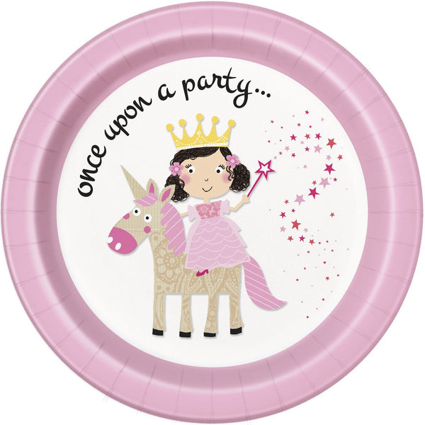 8-pink-princess-unicorn-23-cm-plates