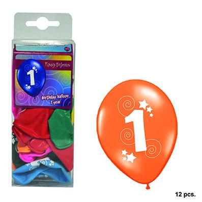 12-balloons-30cm-number-1-asst-colors