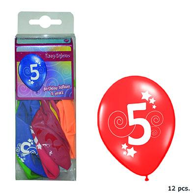 12-balloons-30cm-number-5-asst-colors