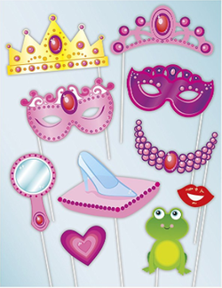 Photo Booth Props Fotoboks - Prinsesse 10pk