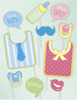 Photo Booth Props Fotoboks - Baby Shower - 10pk