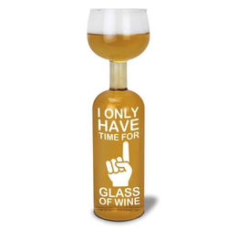 Vinflaskeglass - Karaffel - Only Have Time (750ml)