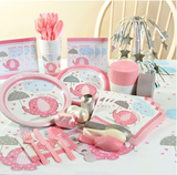 Servietter, Baby Shower - Umbrellaphants Rosa - 16pk