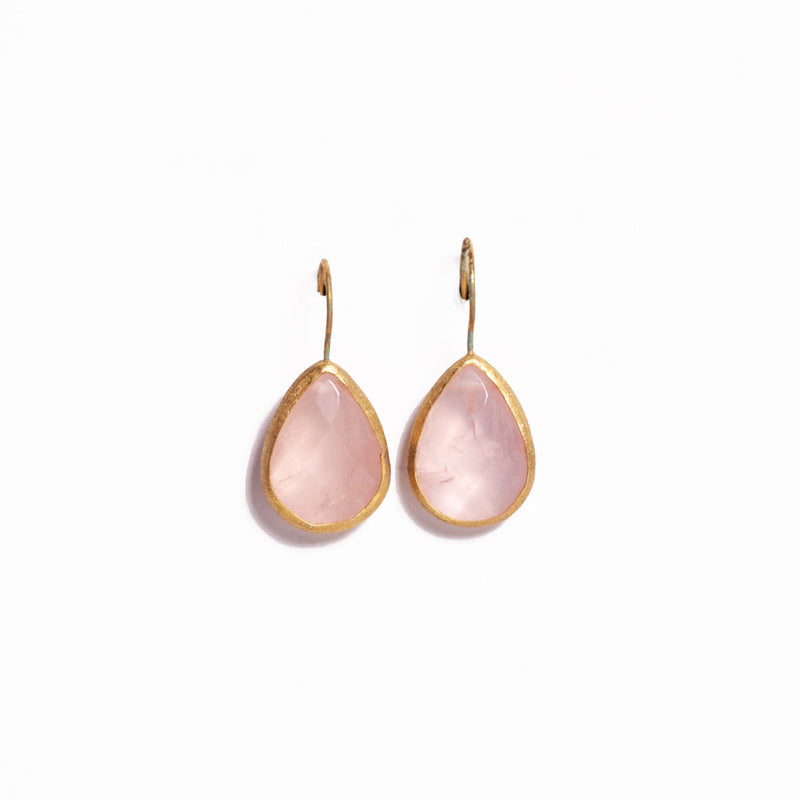 Earrings - Antika - Single Stone Medium Rose Quartz