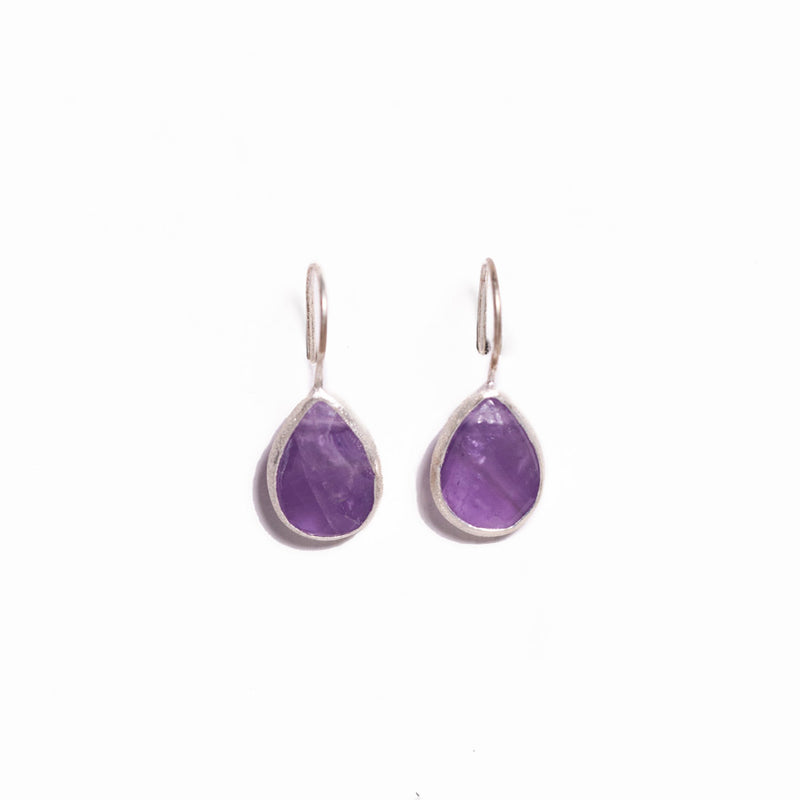 Earrings - Antika - Single Stone Small Amethyst Stone Silver (available in oval too)