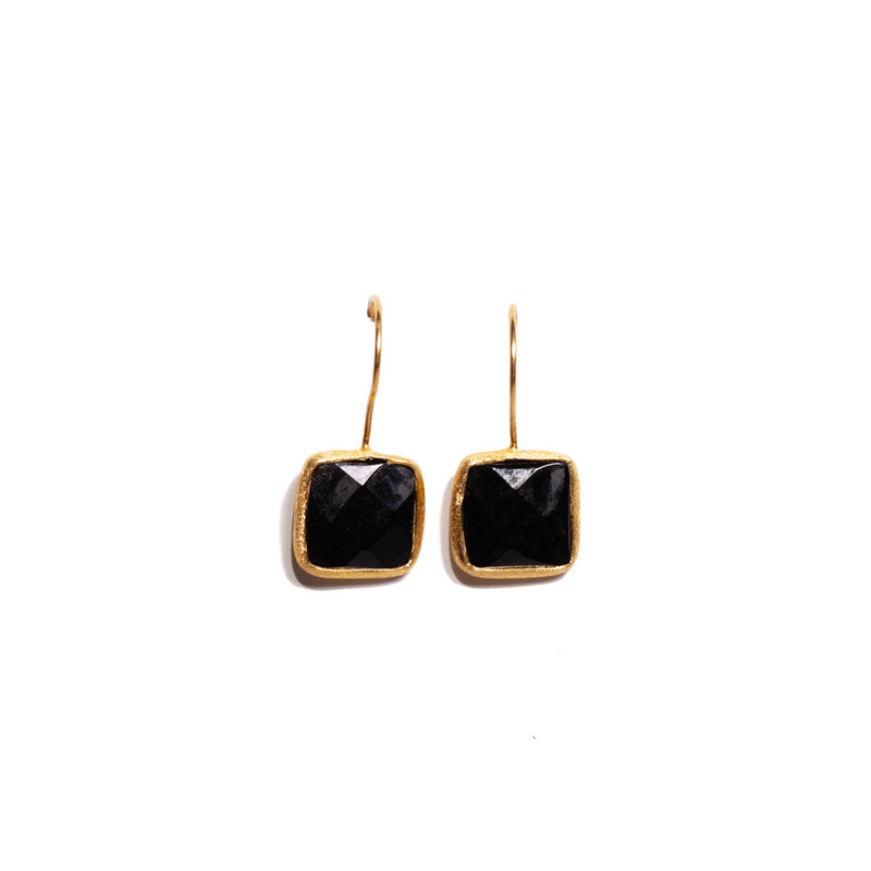 Earrings - Antika - Single Stone Small Black Onxy Stone