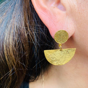 Earrings - Antika - Geo Gold Half Moon Post Stud