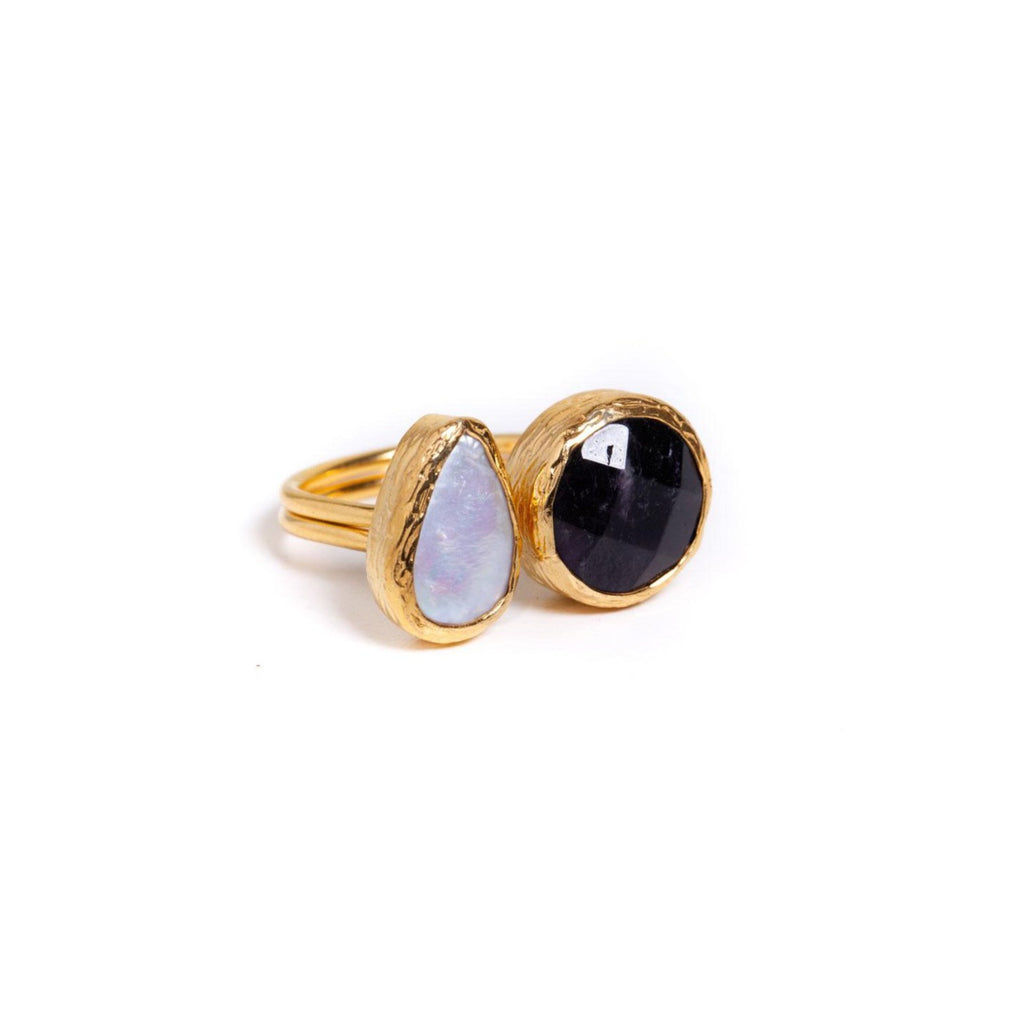 Ring - Antika - 2 Stone Ring Black Onyx and Pearl