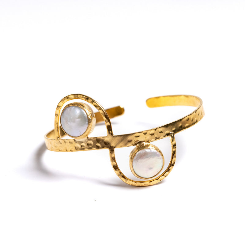 Bracelet - Antika - Two Stone Cuff Squeeze Pearl