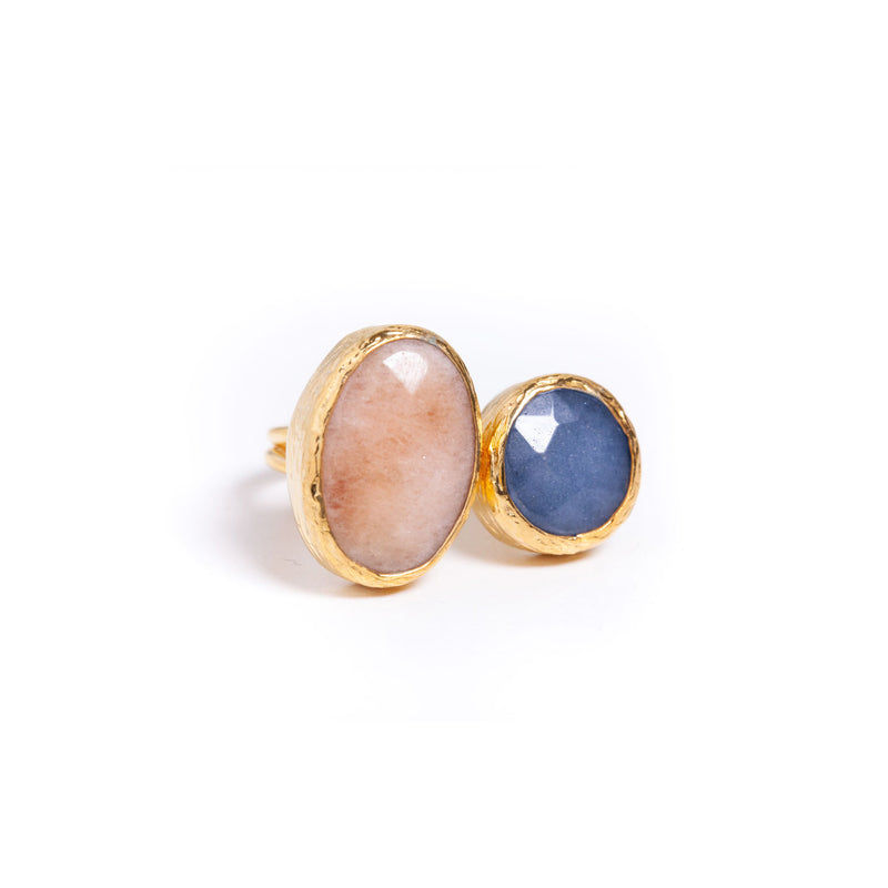 Ring - Antika - 2 Stone Ring Light Rose Quartz and Blue Quartz