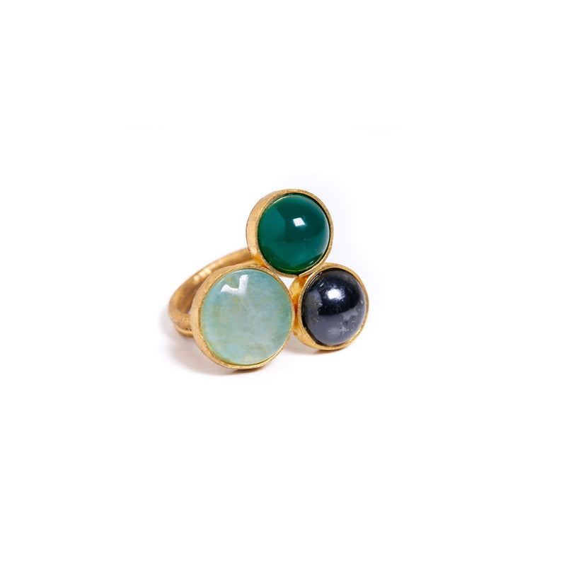 Ring - Antika - 3 Stone Jade, Quartz and Black Pearl