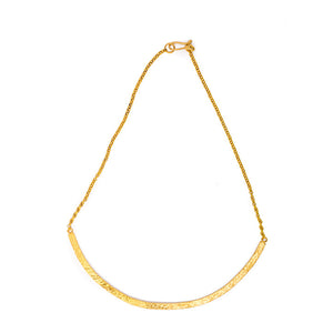 Necklace - Antika - Hammered Half Bar- 24 kt Gold Vermeil - Beksan Designs