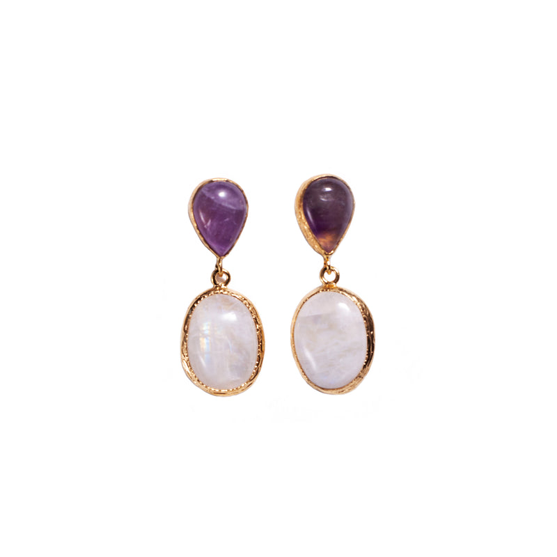 Earrings - Antika - Double Stone Amethyst & Moonstone Post