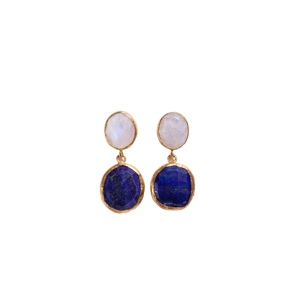 Earrings - Antika - Double Stone Moonstone & Lapis