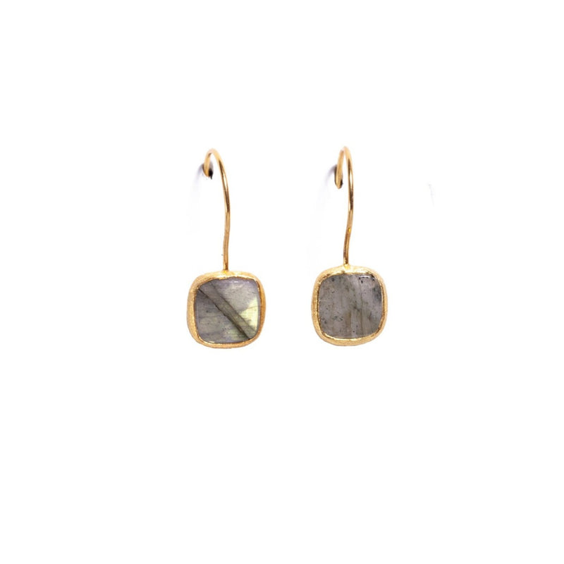 Earrings - Antika - Single Stone Small Labradorite Stone