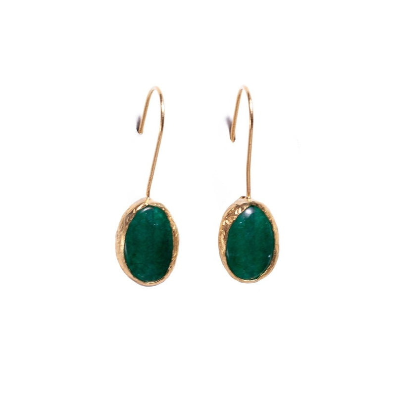 Earrings - Antika - Single Stone Small Jade Stone