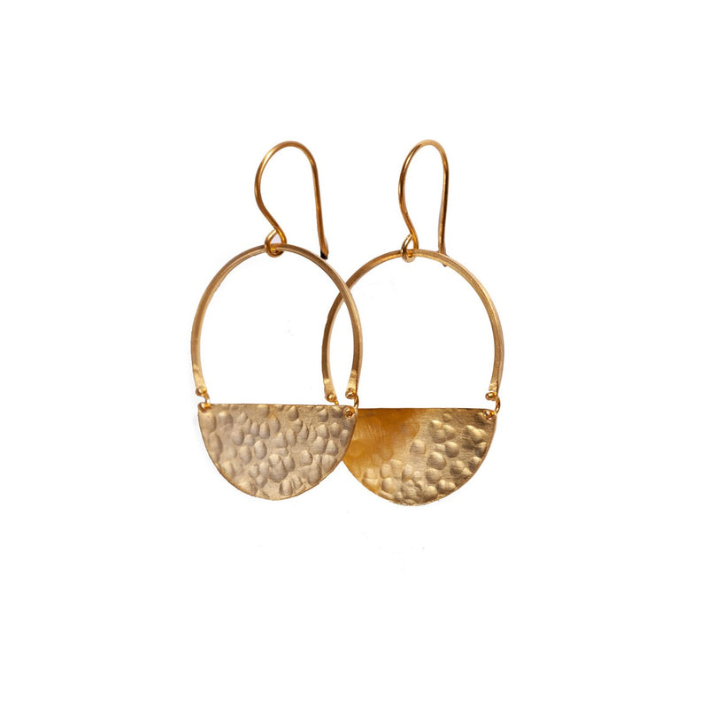 Earrings - Antika - Geo Hammer Half Moon 24k Gold Vermeil