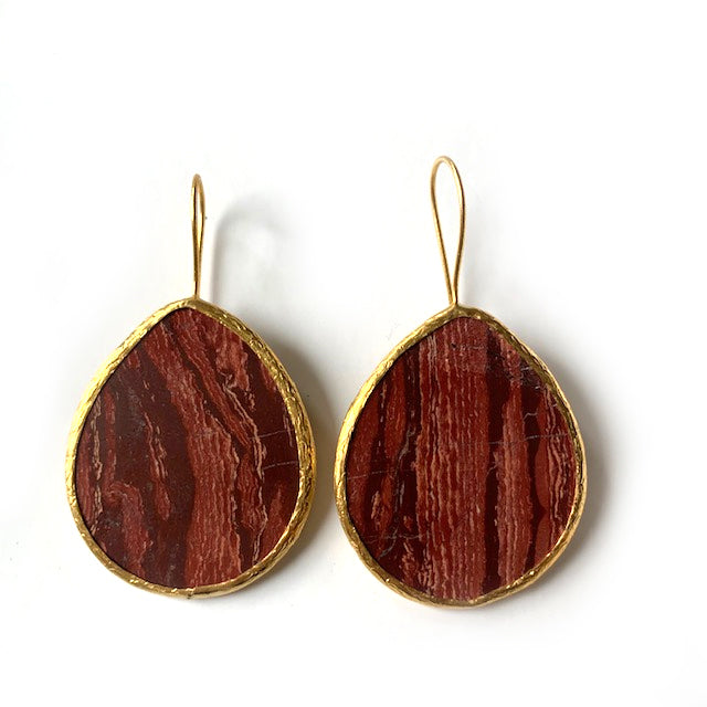Earrings - Antika - Single Stone Large Slice Red Agate