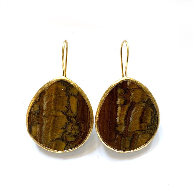 Earrings - Antika - Single Stone Large Slice Agate Brown