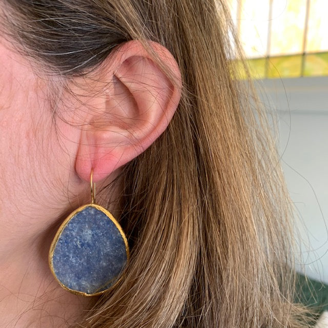 Earrings - Antika - Single Stone Large Slice Lapis