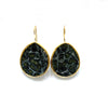 Earrings - Antika - Single Stone Large Slice Agate Multi Color