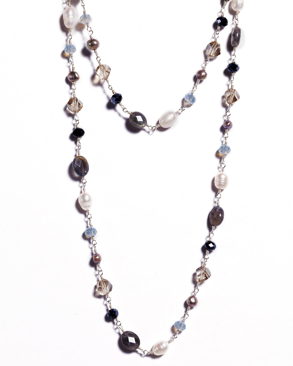 Necklace - Antika - Labradorite & Pearl Gemstone (and other colors)
