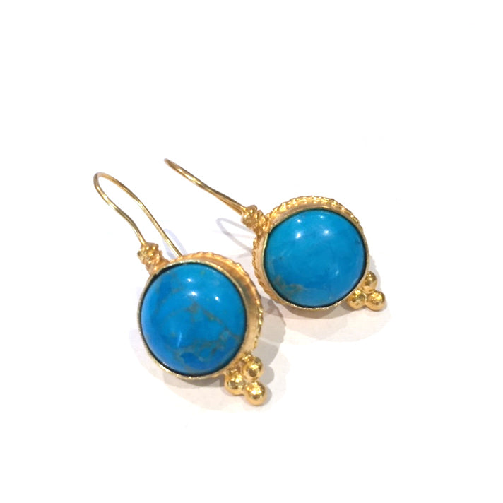 Earrings - Antika - Single Stone Medium Turquoise Stone