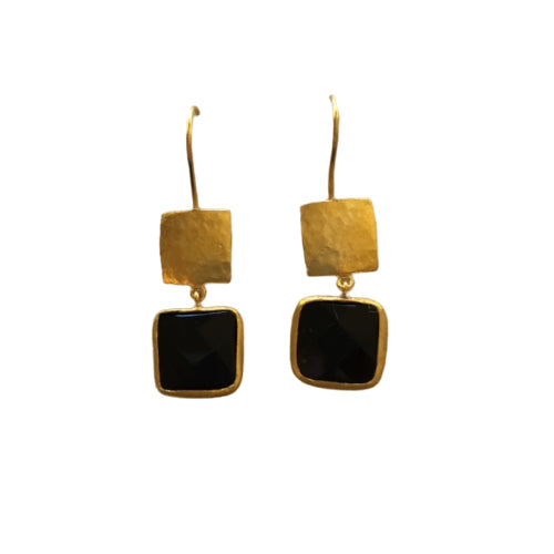 Earrings - Antika - Gold and Stone Black Onyx