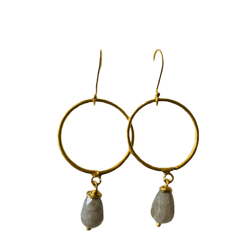 Earrings - Antika - Circle 24k Gold Vermeil & Labradorite
