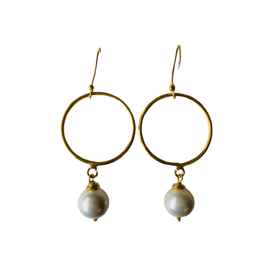 Earrings - Antika - Circle 24k Gold Vermeil & Pearl