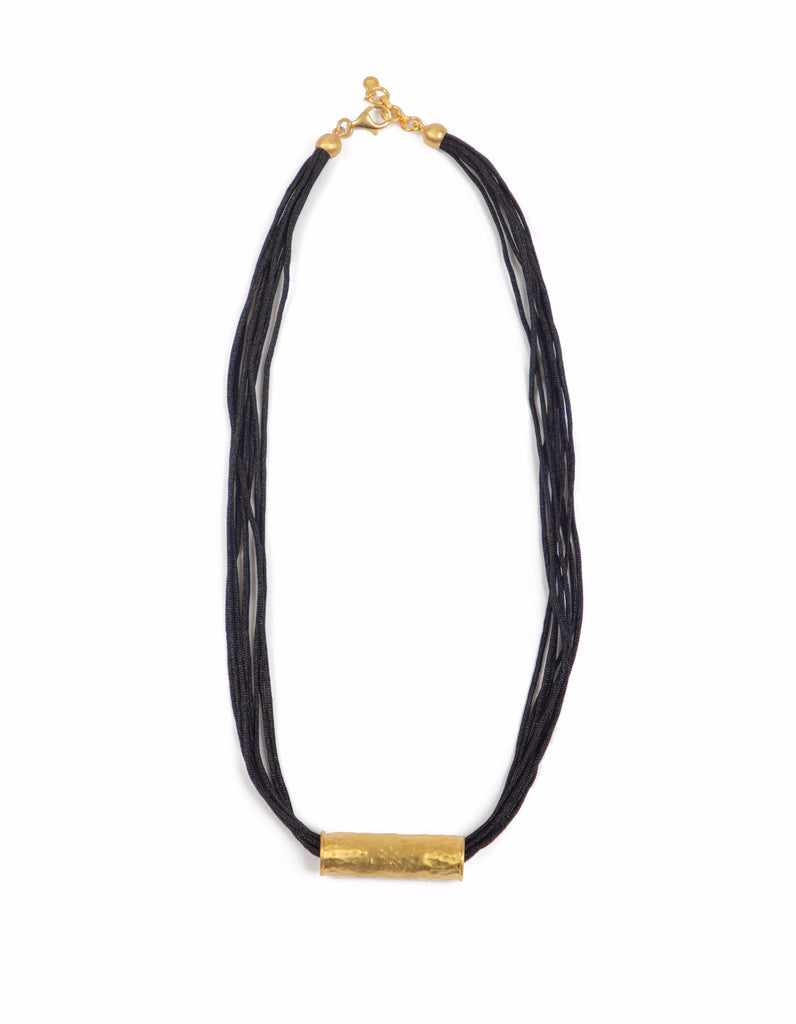 Necklace - Antika - Leather Hammered Gold Piece