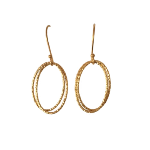 Earrings - Antika - Geo Oval Thin Double
