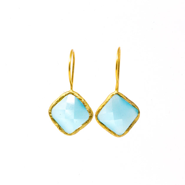 Earrings - Antika - Single Stone Medium Light Blue Quartz - Beksan Designs