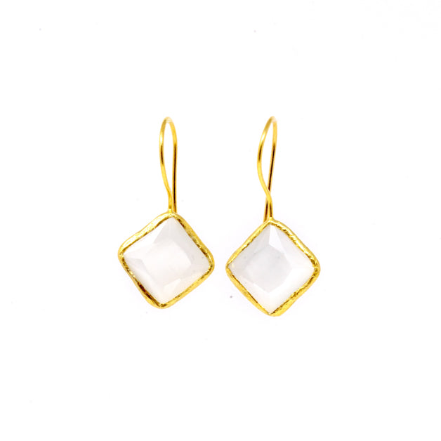 Earrings - Antika - Single Stone Medium White Quartz Crystal Cut Stone - Beksan Designs