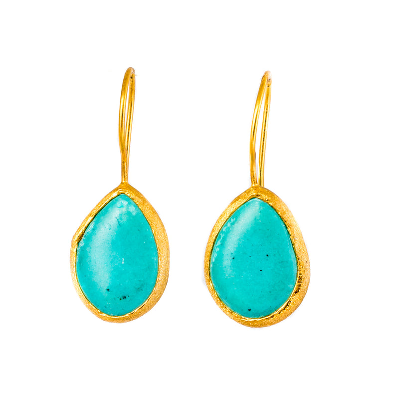 Earrings - Antika - Single Stone Medium Smooth Turquoise