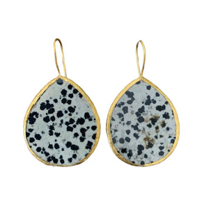 Earrings - Antika - Single Stone Large Slice Leopard