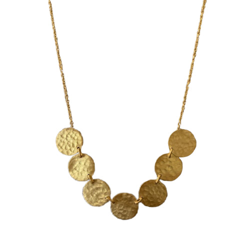 Necklace - 24k Gold vermeil - Multi Hammer Disc
