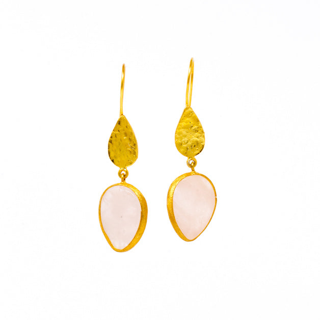 Earrings - Antika - Gold and Stone Pink Quartz - Beksan Designs