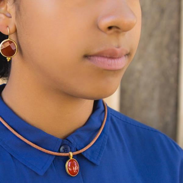 Necklace - Antika - Leather Carnelian Stone - Beksan Designs